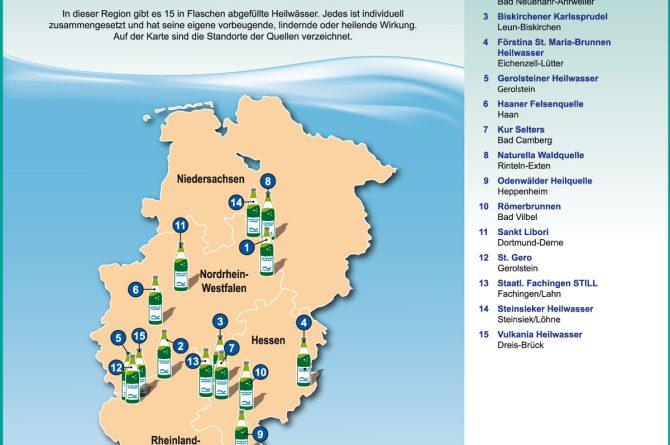 Heilwassermarken in Nordrhein-Westfalen, Niedersachsen, Rheinland-Pfalz und Hessen